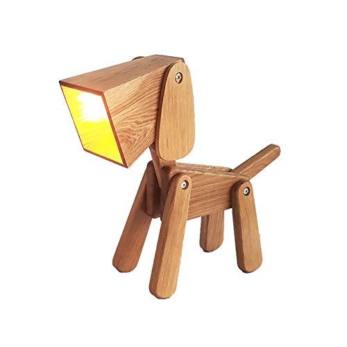 ZHANGYUNSXD Lámpara de Mesa Salón Grande Perro Creativa lámpara de Escritorio de Forma Ajustable Decorativo Noche de la lámpara de Noche, Luz Regalo Lámpara de Mesa de Noche Led (Color : Wood Color)