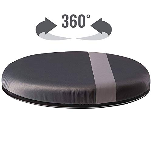 HealthSmart Swivel Seat Cushion assists with 360 degree turns to facilitate transitions to sitting or standing, Black with Gray Stripe, 12.5 Inches in Diameter