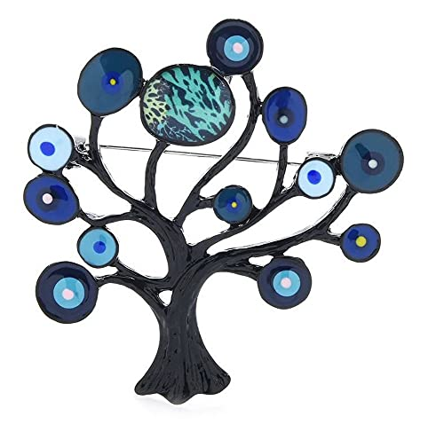 Broche con diseño de árbol de la vida negro y azul de acero.