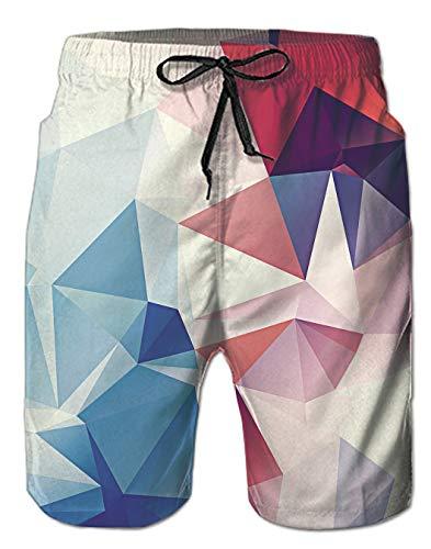 Spreadhoodie Herren Geometrisch Badeshorts Lusting Männer Bermuda 3D Rosa Geometric Badehose Schwimmhose Kurze Hose Shorts L