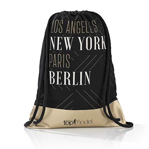 GNTM Germany\'s Next Topmodel Turnbeutel Damen | Große Sporttasche für Mädchen und Damen, Schriftzug | Baumwolle, Kunstleder [schwarz/Gold]