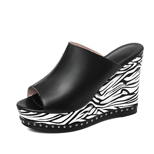 ANNIESHOE Mules Mujer de Vestir Comodas Cuero Sexy Sandalias Tacon Alto Cuña Plataforma Verano Negro 37CN 37EU 23.5cm