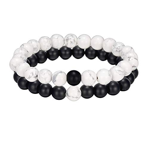 NewChiChi Bead Bracelets,2PCS Couple/Lover/Friendship/Relationship His and Hers Bracelet, 8mm Amethyst Charm Obsidian Elastic Natural Stone Beaded Bangle Bracelets for Men Women Black Matte Agate \u0026amp;