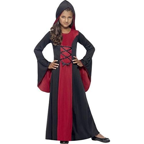 NET TOYS Mittelalter Kostüm Kinder Gothic Kleid mit Kapuze L, 10 - 12 Jahre, 145 - 158 cm Kapuzenkleid Mädchen Vampir Kostüm Kind