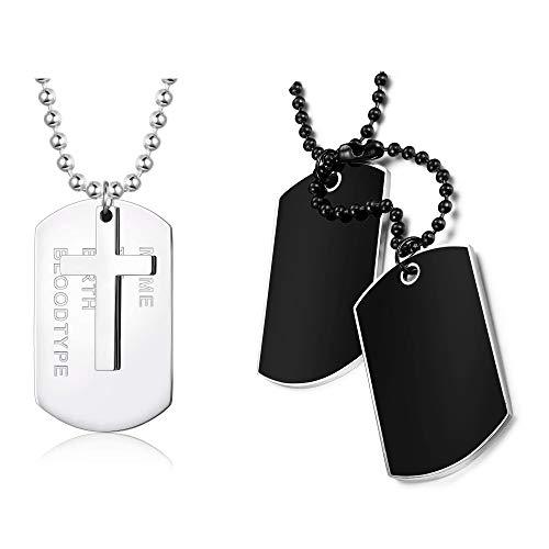 YADOCA - Collar de acero con colgante de placa militar personalizable para hombre, 2 unidades