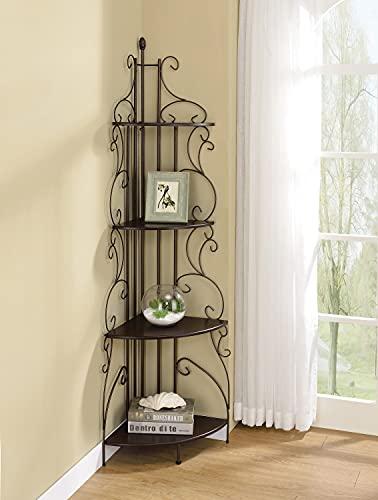 4-Shelf Corner Bookcase Cappuccino and Copper