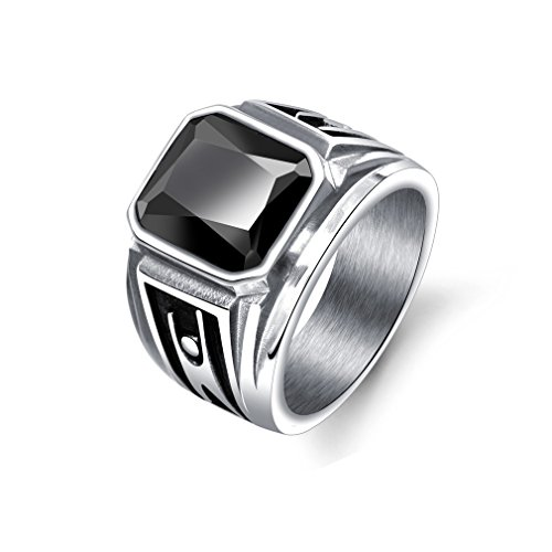 PAURO Men's Alloy Creativity Humanities Single Index Finger Punk Gemstone Black Ring Size V
