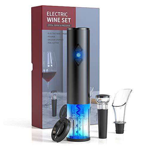 CIRCLE JOY Elektrisk vinflasköppnare set, batteridriven vinöppnare sats, trådlös automatisk korkskruv kombo med bifogad foliesskärare vakuumstoppare vinluftare droppkorg, svart