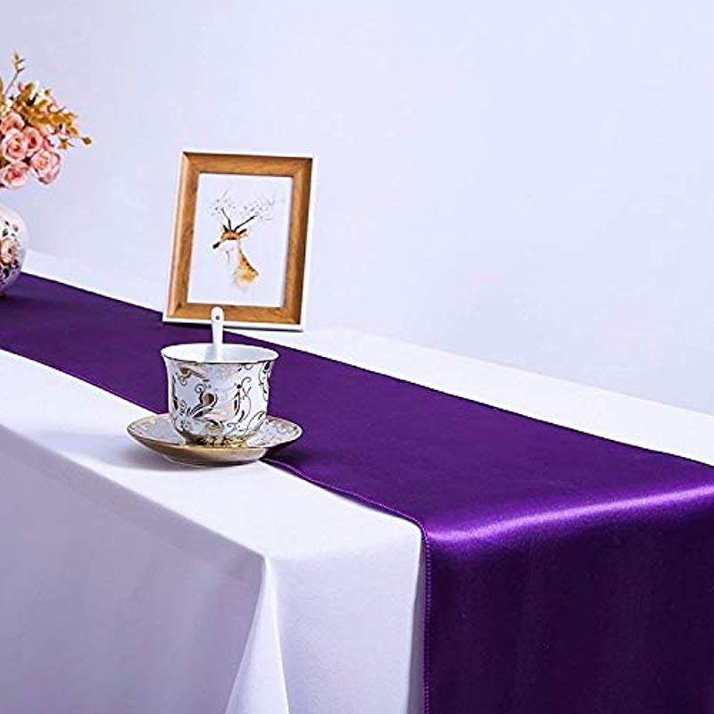CoFashion Table Runner 10 Pack Satin Table Runners FT Rectangle For Parties Weddings Showers Birthday Banquet Party Decorations 12 X 108 Inch Bright Silk Purple Table Runners For Wedding Reception