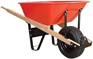A.M. Leonard Steel Tray Wheelbarrow with Pneumatic Tire - 6 Cubic Feet, Red