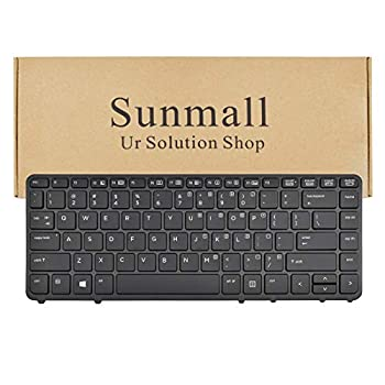 SUNMALL Laptop Keyboard Replacement Without Pointer,with Backlight Compatible with HP EliteBook 840 G1 G2 / 850 G1 G2 / 745 G1 G2/HP ZBook 14 Series Laptop US Layout  with Black Frame