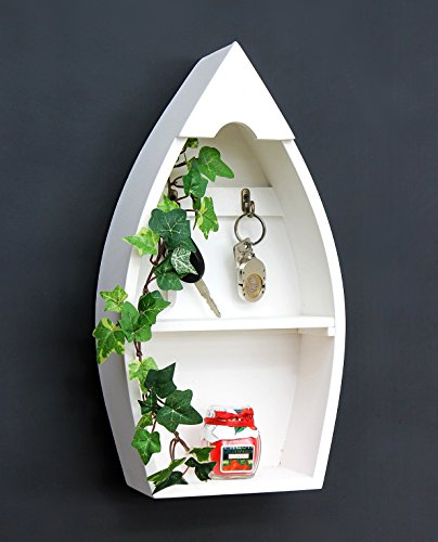 DanDiBo Schlüsselboard aus Holz mit Ablage Boot Schlüsselhaken Wandregal 30-38 cm Schlüsselleiste Schlüsselkasten (38,5 x 20 cm)