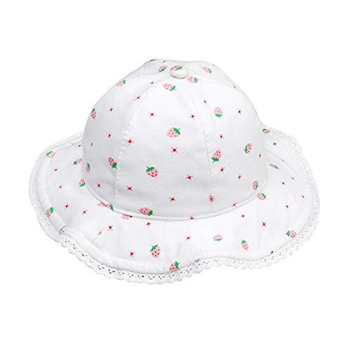 Happy Cherry Baumwolle Kinderhut Festsitzende Verstellbare Fischerhut Erdbeere Muster Mütze Mädchen Sonnenhut UV-Schutz Sommerhut Muster 2 - Größe 46 cm
