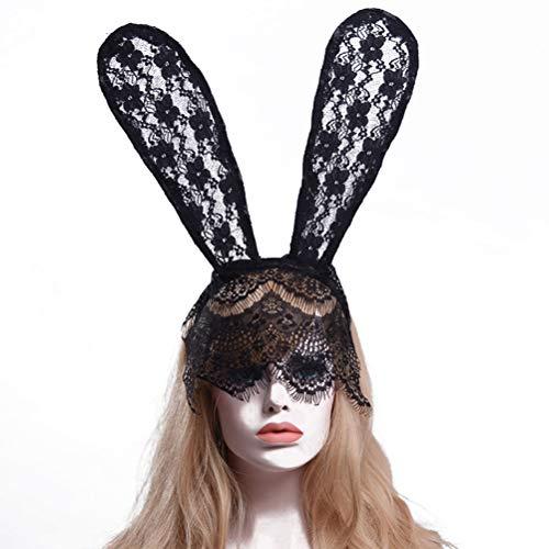 Frcolor 2pcs orejas de conejo de encaje negro diadema de conejo orejas de conejo sexy máscara de encaje velo velo