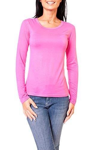 Easy Young Fashion Damen Basic Langarmshirt Skiny Fit Langarm Unterziehshirt Longsleeve Shirt mit Rundhals-Ausschnitt Pink M 38