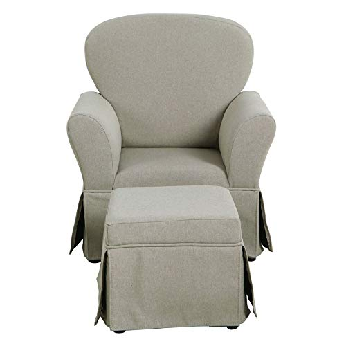 Unknown1 Kids Chair and Ottoman Stain Resistant Gray Fabric Grey Glam Wood Cushioned Seat