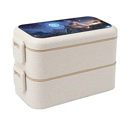 Game Genshin Impact Jennifer Roche Bento Box Sealed Leak-Proof Fresh-Keeping Double-Layer Lunch Boxes Picnic Bag with Spoon and Fork