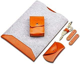 Miss flora MAC accessories .4 in 1 Laptop Crazy Horse Texture Fur Felt Inner Bag + Power Bag + Mouse Storage Bag + 3 Earphone Cable Winders for MacBook 15.4 inch (2016-2017) (Black)