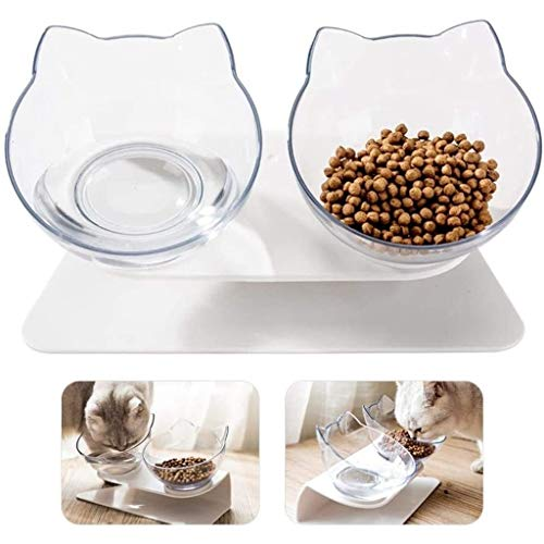 15° gekantelde platform dubbele bowl kattenveer, Raised kattenvoer en waterschotels met stand-nr spill vermindert huisdieren nekpijn voor kleine honden en katten (dubbele schaal)
