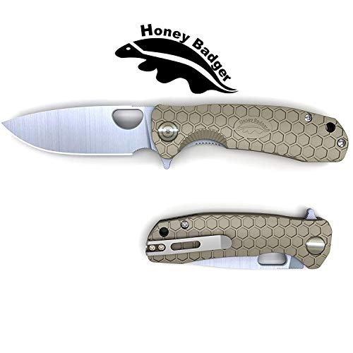 Honey Badger Flipper Knife Pocket Knife Liner Lock Folding Knife Tactical Hunting Fishing Camping Fruit Knife FRN Handle Deep Pocket Carry Clip (Tan, Medium 2.96oz - 4.1' Closed - 3.2' Blade)