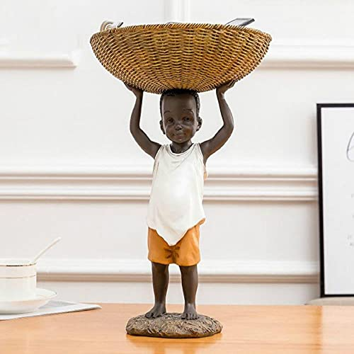 Estatua Escultura Adorno Escultura De Personaje Abstracto De Resina, Canasta De Almacenamiento Para Hombre Negro, Adornos De Estatua, Decoraciones Modernas Para El Hogar, Figuritas En Miniatura, Manu