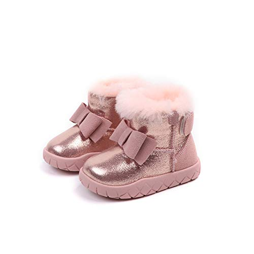 Niemowlę berbeć dziewczyna buty zimowe ciepłe skórzane buty śniegowe dzieci pierwsze kroki buty śnieg Męska kurtka zimowa narciarska (Color : Black, Size : 22)