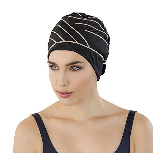 Fashy Exclusive Bonnet de Bain en Tissu Femme, Noir/Marron, Taille Unique