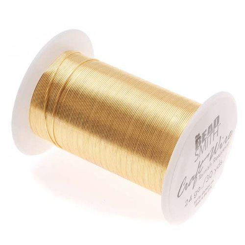 The Beadsmith 24-Gauge Lacquered Tarnish-Resistant Copper Wire for Jewelry Making,30 Yard,27.6 Meter Spool (Gold Plated)