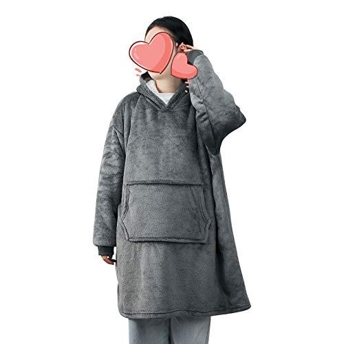 ANSUG Manta de Sudadera con Capucha Gigante, Manta de Forro Polar Suave y cálida con Bolsillo Grande para Adultos, Hombres, Mujeres, Adolescentes - Talla única