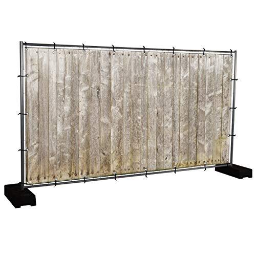 Holzwand Motivbanner Garten, Sichtschutz, Gartendeko, Plane, Verschiedene Motive (PVC - 340 x 173 cm) (Holzwand (3149))