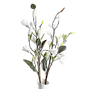 HO2NLE 2PCS Artificial Silk Magnolia Flowers Real Touch Fake Floral Branches Home Garden Restrant Hotel Parties Wedding Table Centenpieces Arrangements Decor Spray in White 30 inches