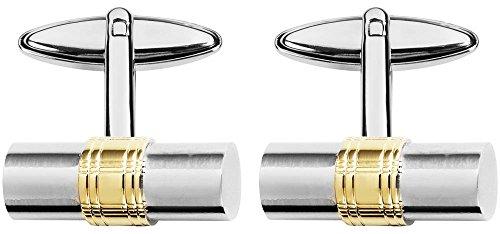 Orton West Argent/Or plaqué rhodium avec le Centre Gold Plate Barrel boutons de manchette de