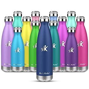 KollyKolla Botella de Agua Acero Inoxidable, Termo Sin BPA Ecológica, Botellas Termica Reutilizable Frascos Térmicos para Niños & Adultos, Deporte, Oficina, Yoga, Ciclismo, (350ml Azul Marino)