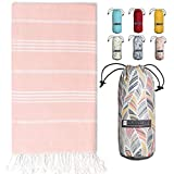 BAY LAUREL Turkish Beach Towel with Travel Bag 39 x 71 Quick Dry Sand Free Lightweight Large Oversized Beach Towel Turkish Towels Light Beach Towel Travel Towels