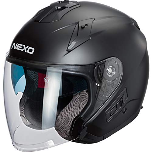 Nexo Jethelm Motorradhelm Helm Motorrad Mopedhelm Jethelm Comfort mattschwarz XS,...