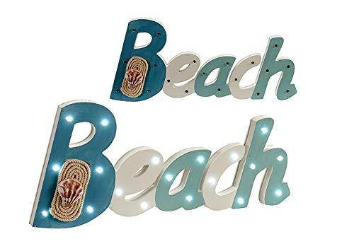 takestop® houten bordje strand met 19 LED-lampen voor muur, 40 x 17 x 3 cm, wandmontage, decoratie voor gebak en huis