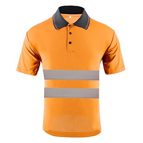 ZUJA Hi Vis Safety Short Sleeve Polo Shirt Bird Eye Fabric Reflective Tape Construction Protective Work Wear Shirts for Men(Orange,XL)