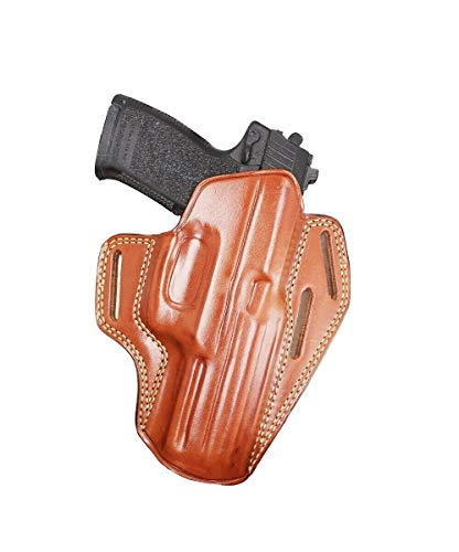 Premiym The Ultimate Leather OWB Pancake Holster Open Top Fits H&K Mark 23 SoCom, Right Hand Draw, Brown Color #1477#
