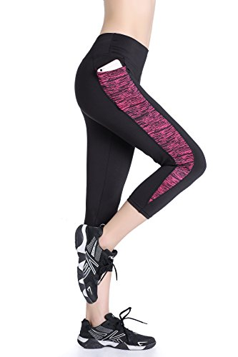 East Hong Damen Capri Yoga Pants ACTIVE Running Leggings 2 Seitentaschen xl schwarz/rosa