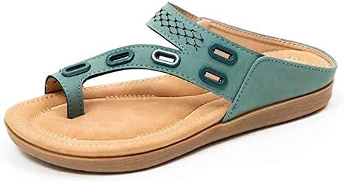 ZBTOP Woman Sandals Orthopedic Comfy Premium Summer Slippers Hollow out Flat Heel Flip Flop Premium Orthopedic Sandals, Fashion Anti-Slip Summer Peep Toe Beach Slippers Sandals Green 8