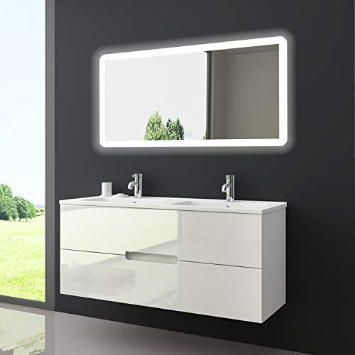"""Oimex Design Badmöbel Set """"Tiana"""" Dual Weiss Hochglanz Doppel Waschtisch 120cm inkl. Armatur LED Spiegel Badezimmermöbel Set mit Waschbecken"""