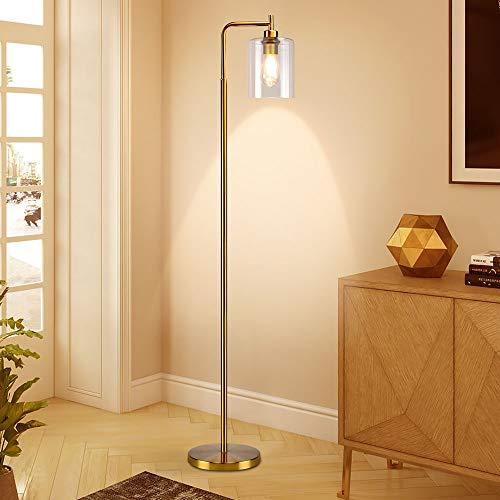 Depuley - Lámpara de pie de salón, lámpara LED de cristal de metal dorado, luz cálida, lámpara de pie con pantalla de cristal, oficina, estudio, E27 (no incluida), interruptor de pie