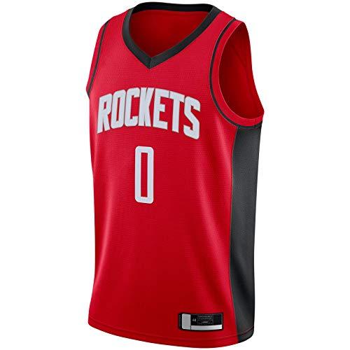 DENGPAO Westbrook Custom Russell Sudadera Houston Basketball Jersey Rockets Traning Jersey Rojo -#0 2019/2020 Swingman Jersey Icon Edition-XXL