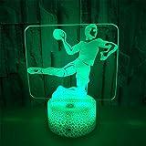 Lampes 3D LED Nigh Light, 7 couleurs, Art tactile/télécommande, Batterie USB/AA, Lampe de décoration de table pour enfant, Un ballon de handball