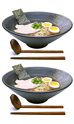 2 Sets (6 Piece) 57 Ounce Large Ceramic Japanese Ramen Noodle Soup Bowl Dishware Ramen Bowl Set with Matching Spoon and Chopsticks for Udon Soba Pho Asian Noodles (2, Grey Ceramic, 9.5 inches)