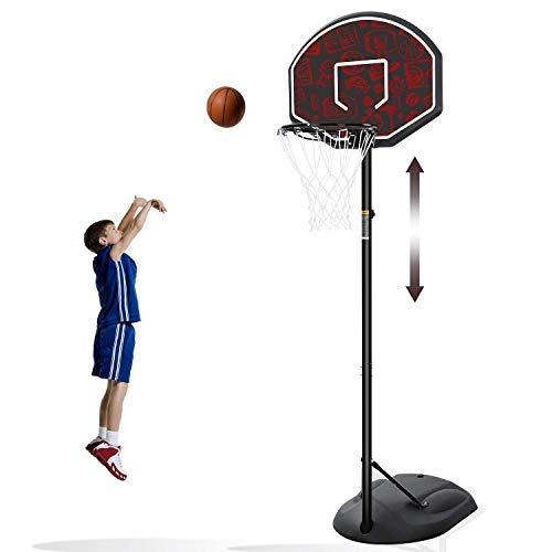MaxKare Canasta de Baloncesto Plegable y Ajustable 168-230cm Basket Red y Tablero con Soporte Metal y Base Rellenable para infantil y Adultos Rojo Exterior Interior