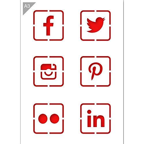 Social Media Logo Ikonen Schablone - Plastik - A3 42 x 29,7cm - Logo Höhe 9cm - wiederverwendbare kinderfreundliche Schablone für Malerei, Handwerk, Wände und Möbel
