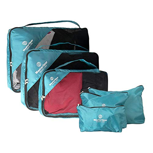 MasterGear Kleidertaschen Set in blau , 6-teiliges Reisetasche Set für Koffer , Packing Cubes , 3 Aufbewahrungstaschen + Wäsche-, Schuh-, Kosmetikbeutel , Paktaschen , Packwürfel