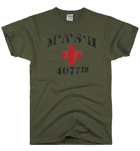 DIRTYRAGZ Men's MASH 4077th MASH Vintage T Shirt S Military Green