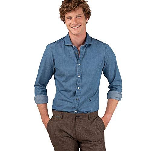 El Ganso Urban INTERSEASON Camisa casual, Azul (Denim 0012), Medium para Hombre